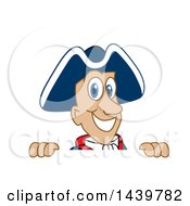 Clipart Of A Patriot School Mascot Character Looking Over A Sign Royalty Free Vector Illustration by Toons4Biz