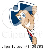 Clipart Of A Patriot School Mascot Character Looking Around A Sign Royalty Free Vector Illustration by Toons4Biz