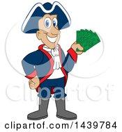 Patriot School Mascot Character Holding Cash Money