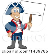 Clipart Of A Patriot School Mascot Character Holding A Blank Sign Royalty Free Vector Illustration