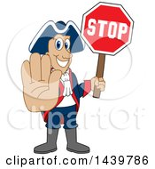 Patriot School Mascot Character Holding A Stop Sign