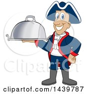 Clipart Of A Patriot School Mascot Character Holding A Cloche Platter Royalty Free Vector Illustration
