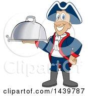Patriot School Mascot Character Holding A Cloche Platter