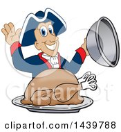 Patriot School Mascot Character Serving A Roasted Thanksgiving Turkey