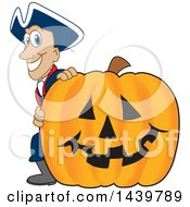 Clipart Of A Patriot School Mascot Character With A Halloween Pumpkin Royalty Free Vector Illustration