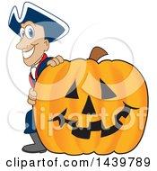 Patriot School Mascot Character With A Halloween Pumpkin