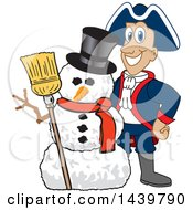 Clipart Of A Patriot School Mascot Character With A Snowman Royalty Free Vector Illustration by Toons4Biz