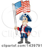 Clipart Of A Patriot School Mascot Character Waving An American Flag Royalty Free Vector Illustration