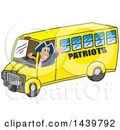 Patriot School Mascot Character Driving A School Bus