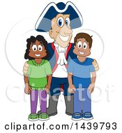 Patriot School Mascot Character With Happy Students