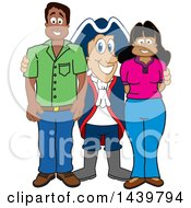 Patriot School Mascot Character With Happy Parents Or Teachers