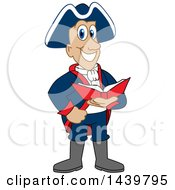 Clipart Of A Patriot School Mascot Character Reading A Book Royalty Free Vector Illustration