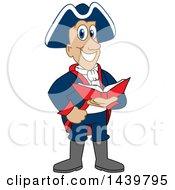Patriot School Mascot Character Reading A Book