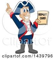 Patriot School Mascot Character Holding A Report Card