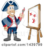 Clipart Of A Patriot School Mascot Character Painting Royalty Free Vector Illustration by Toons4Biz