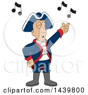 Clipart Of A Patriot School Mascot Character Singing Royalty Free Vector Illustration