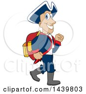 Patriot School Mascot Character Wearing A Backpack