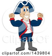 Clipart Of A Patriot School Mascot Character Flexing Royalty Free Vector Illustration by Toons4Biz