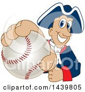 Poster, Art Print Of Patriot School Mascot Character Grabbing A Baseball