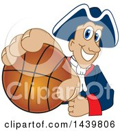 Patriot School Mascot Character Grabbing A Basketball
