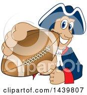 Patriot School Mascot Character Grabbing A Football