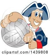 Patriot School Mascot Character Grabbing A Volleyball