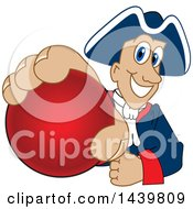 Patriot School Mascot Character Grabbing A Red Ball