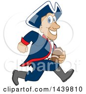 Clipart Of A Patriot School Mascot Character Playing Football Royalty Free Vector Illustration by Toons4Biz