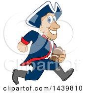 Patriot School Mascot Character Playing Football