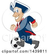Clipart Of A Patriot School Mascot Character Playing Soccer Royalty Free Vector Illustration by Toons4Biz