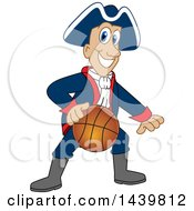 Clipart Of A Patriot School Mascot Character Playing Basketball Royalty Free Vector Illustration by Toons4Biz