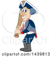 Clipart Of A Patriot School Mascot Character Holding A Baseball Bat Royalty Free Vector Illustration by Toons4Biz