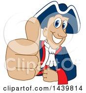 Patriot School Mascot Character Giving A Thumb Up