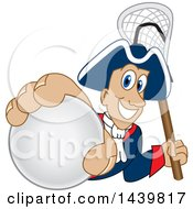 Patriot School Mascot Character Grabbing A Lacrosse Ball And Holding A Stick