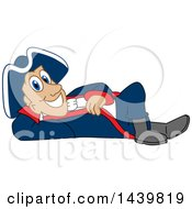 Clipart Of A Patriot School Mascot Character Relaxing Royalty Free Vector Illustration