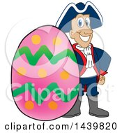 Clipart Of A Patriot School Mascot Character With An Easter Egg Royalty Free Vector Illustration by Toons4Biz