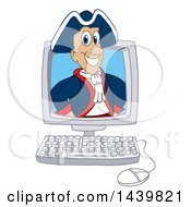 Patriot School Mascot Character Emerging From A Computer Screen