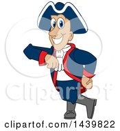 Clipart Of A Patriot School Mascot Character Leaning Royalty Free Vector Illustration by Toons4Biz