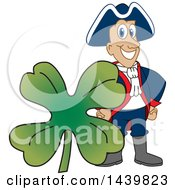 Clipart Of A Patriot School Mascot Character With A St Patricks Day Clover Royalty Free Vector Illustration by Toons4Biz