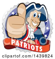 Patriot School Mascot Character Giving A Thumb Up On A Badge
