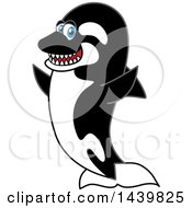 Clipart Of A Killer Whale Orca School Mascot Character Cheering Royalty Free Vector Illustration by Toons4Biz