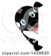 Clipart Of A Killer Whale Orca School Mascot Character Looking Around A Sign Royalty Free Vector Illustration by Toons4Biz