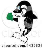 Clipart Of A Killer Whale Orca School Mascot Character Holding Cash Money Royalty Free Vector Illustration by Toons4Biz