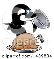 Killer Whale Orca School Mascot Character Serving A Thanksgiving Turkey