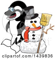 Clipart Of A Killer Whale Orca School Mascot Character With A Snowman Royalty Free Vector Illustration by Toons4Biz