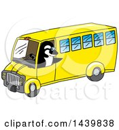 Clipart Of A Killer Whale Orca School Mascot Character Driving A School Bus Royalty Free Vector Illustration