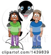 Killer Whale Orca School Mascot Character With Happy Students