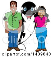 Killer Whale Orca School Mascot Character With Happy Parents Or Teachers