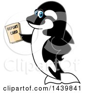 Killer Whale Orca School Mascot Character Holding A Report Card