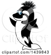 Clipart Of A Killer Whale Orca School Mascot Character With A Mohawk Royalty Free Vector Illustration by Toons4Biz